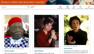 Gale Literature Resource Center - screenshot of featured authors