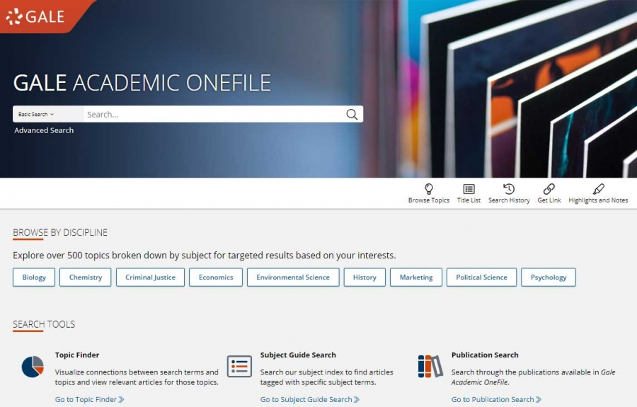 Gale Academic OneFile homepage
