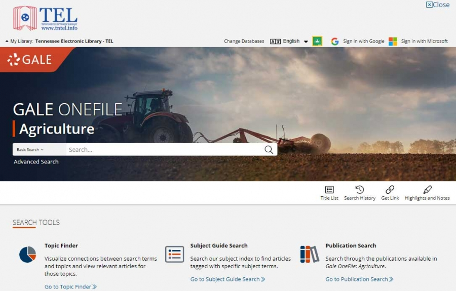 Gale OneFile Agriculture homepage