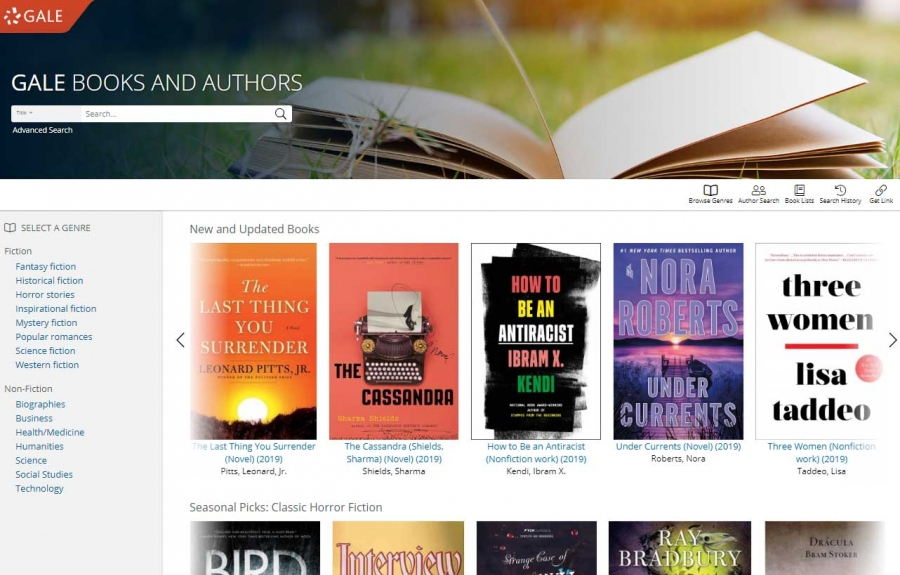 Gale Books and Authors homepage