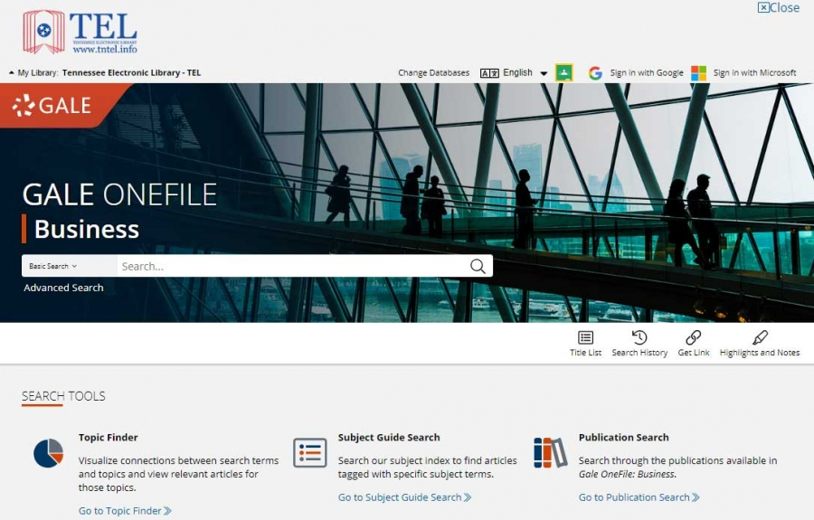 Gale OneFile: Business homepage