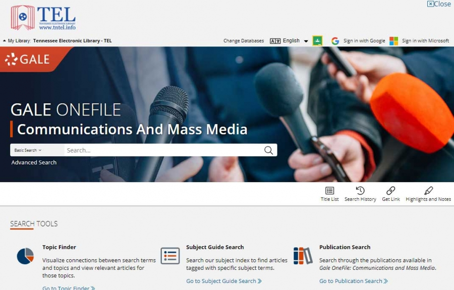 Gale OneFile: Communications And Mass Media homepage