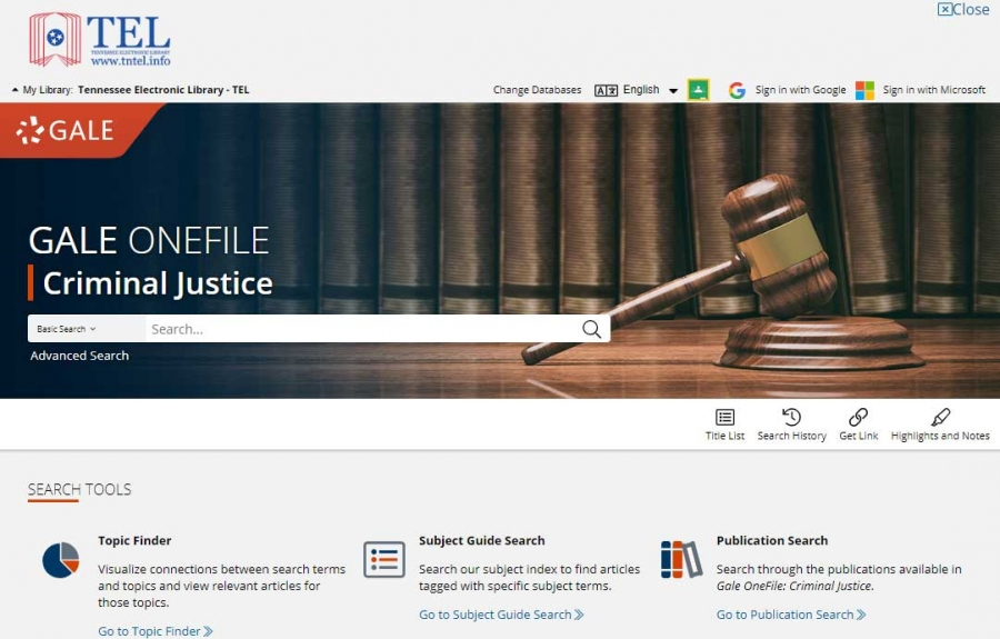 Gale OneFile: Criminal Justice homepage