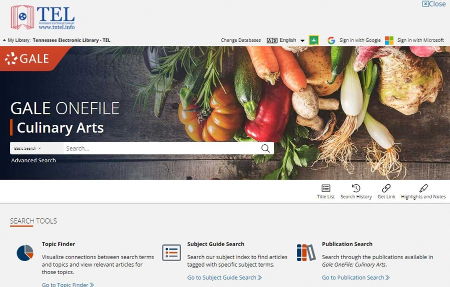 Gale OneFile: Culinary Arts homepage