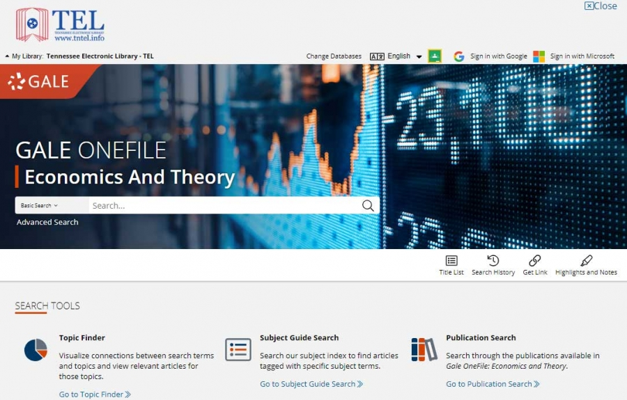 Economics and Theory Collection homepage
