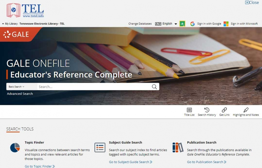 Gale OneFile: Educator's Reference Complete homepage