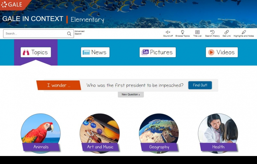 A screen image of the Gale Elementary homepage showing the key features and topics for research