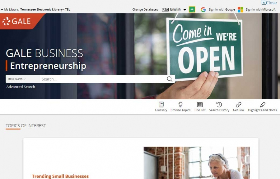 Gale Business: Entrepreneurship homepage