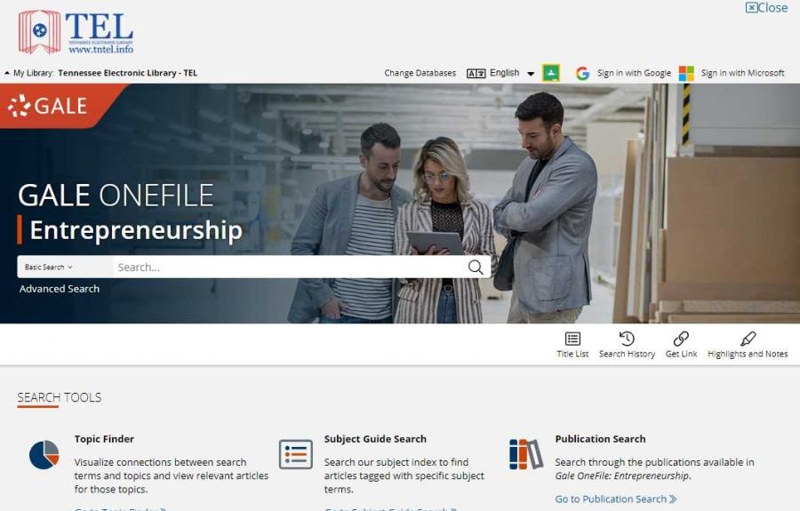 Gale OneFile: Entrepreneurship homepage