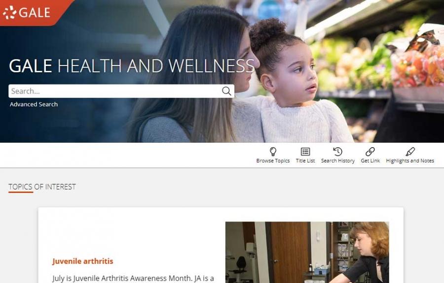 Gale Health And Wellness homepage
