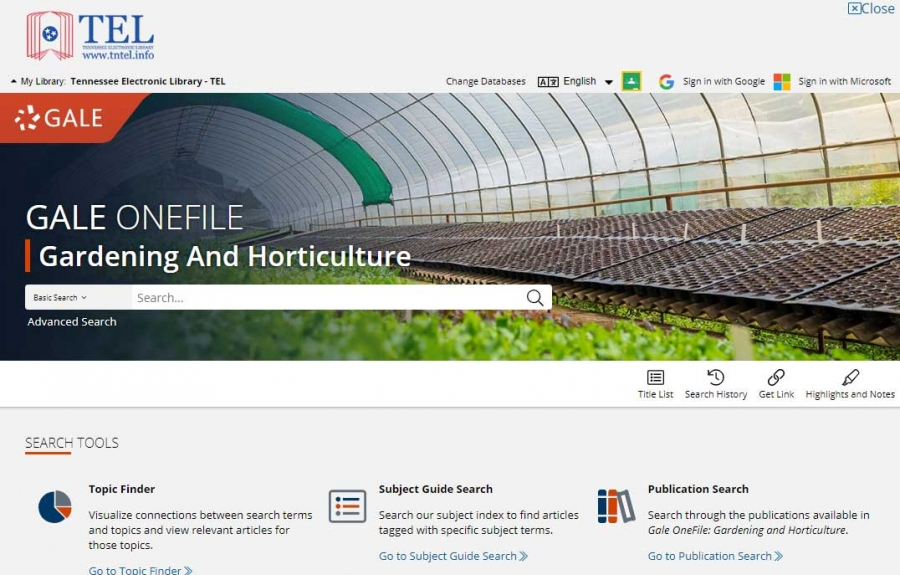 Gale OneFile: Gardening And Horticulture homepage