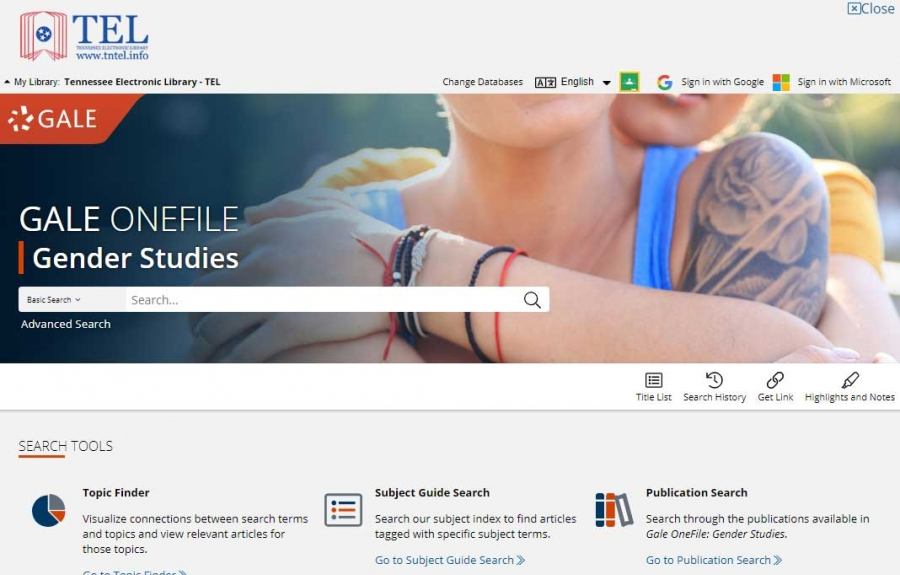 Gale OneFile: Gender Studies homepage