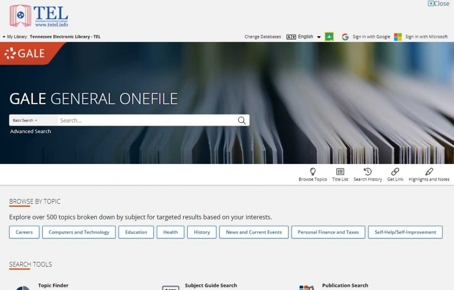 Gale General OneFile homepage