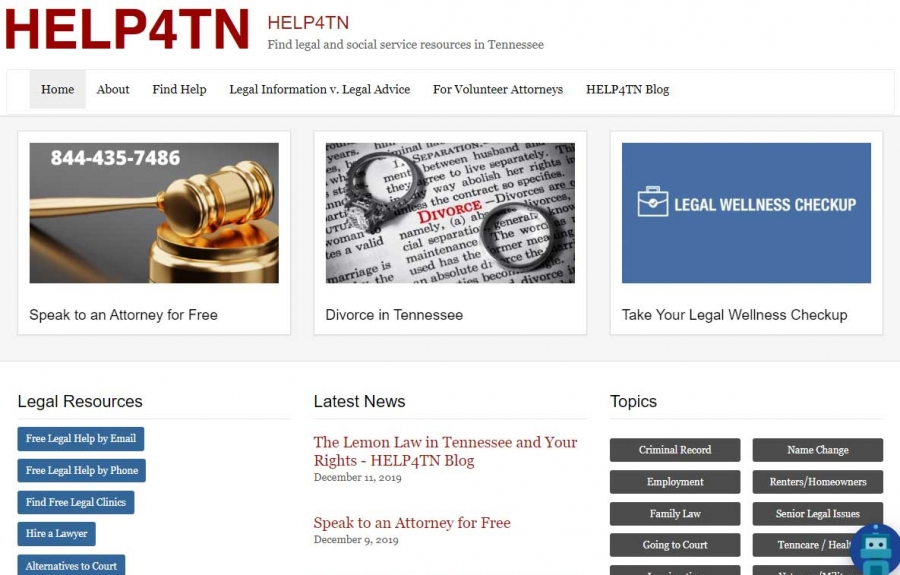 Screenshot Help4TN's website