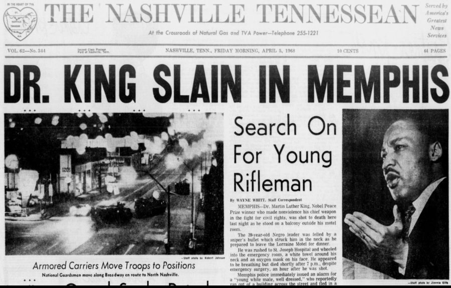 Front Page of Tennessean from April 5, 1968 - Dr. King Slain in Memphis