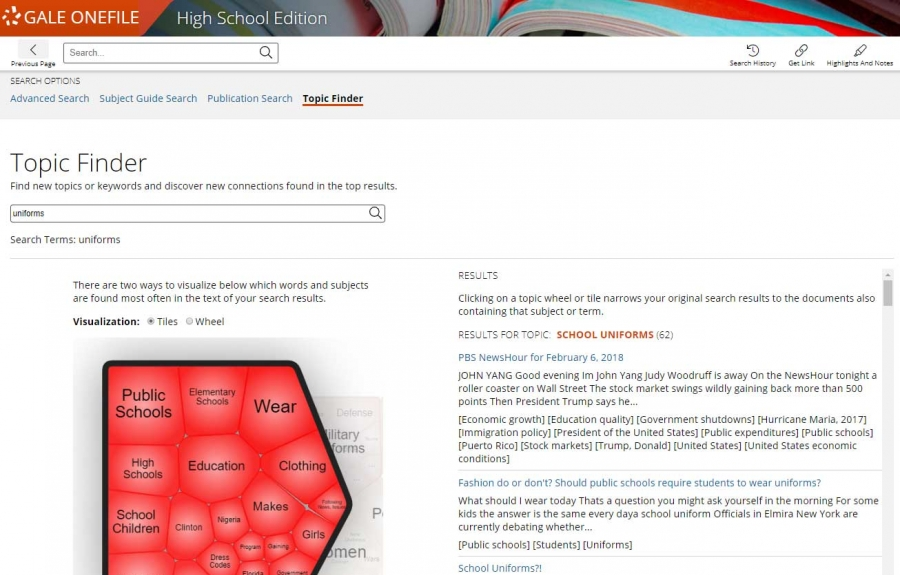 Topic Finder Screenshot