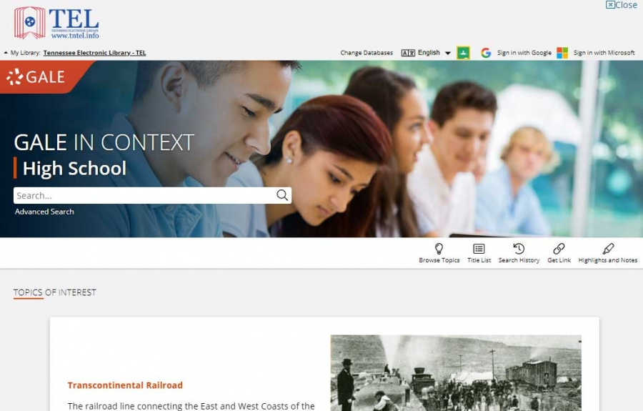Gale In Context: High School homepage