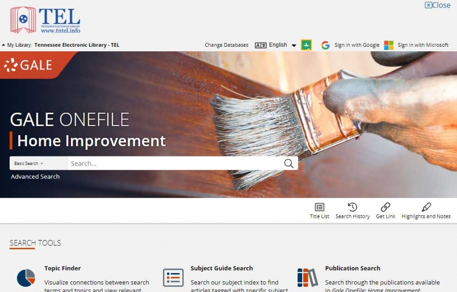 Gale OneFile: Home Improvement homepage