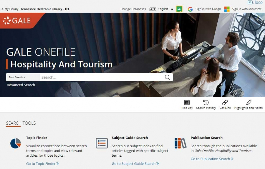 Gale OneFile: Hospitality And Tourism homepage