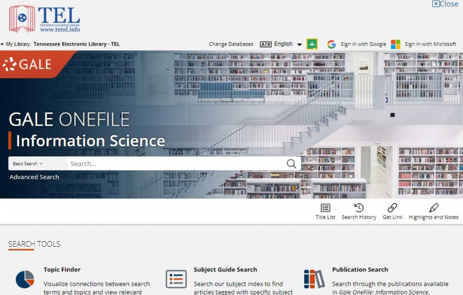 Gale OneFile: Information Science homepage