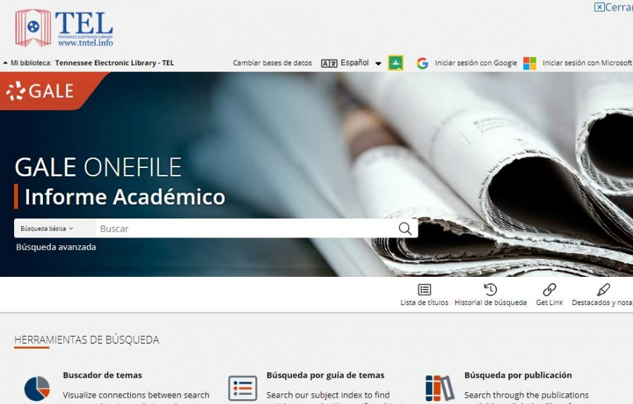 Gale OneFile: Informe Académico homepage