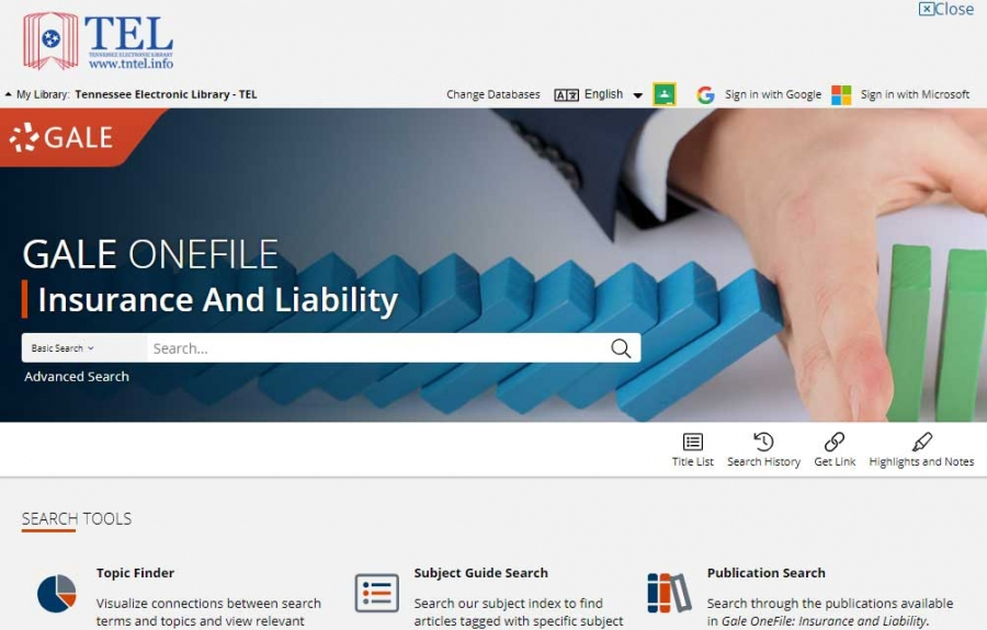 Gale OneFile: Insurance And Liability homepage