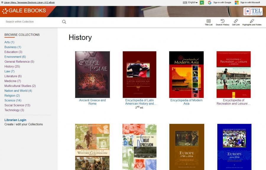Gale K12 Bookshelf - History