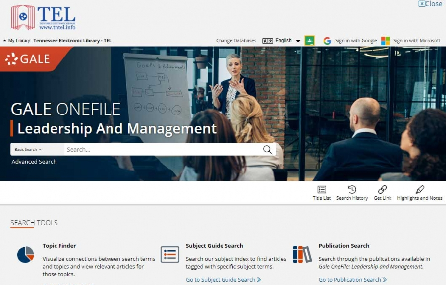 Gale OneFile: Leadership And Management homepage