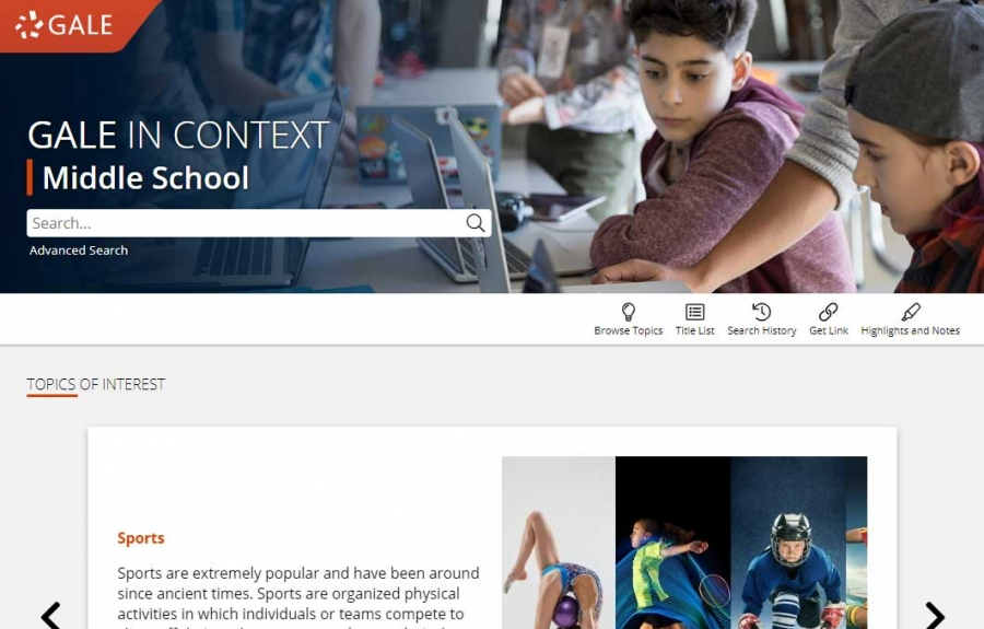 Gale In Context: Middle School homepage