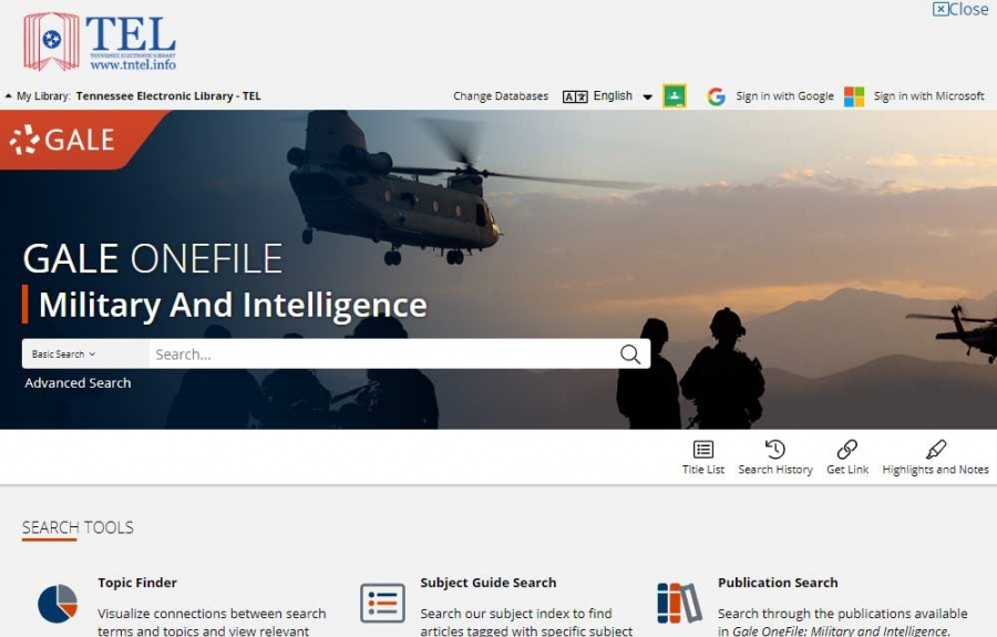 Gale OneFile: Military And Intelligence homepage
