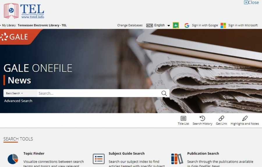 Gale OneFile: News homepage