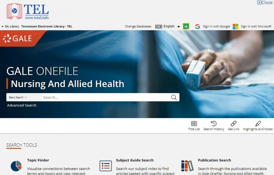 Gale OneFile: Nursing And Allied Health homepage