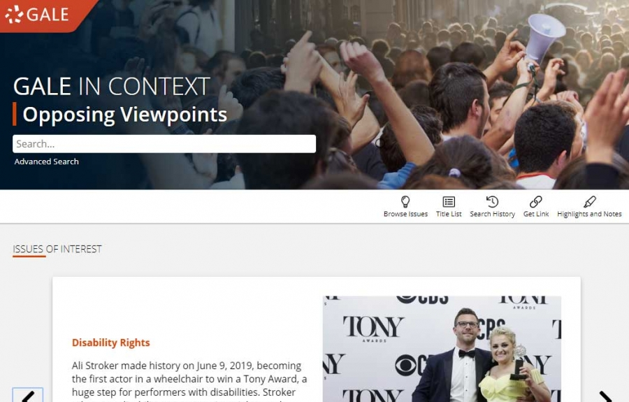 Gale In Context: Opposing Viewpoints homepage