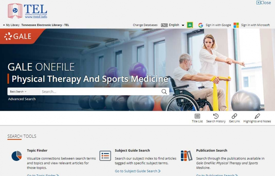 Gale OneFile: Physical Therapy And Sports Medicine homepage