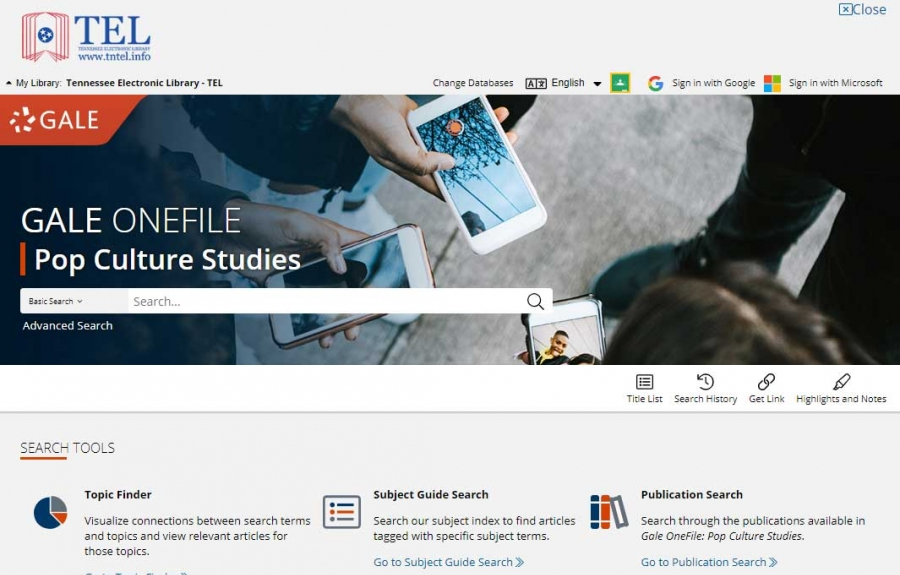 Gale OneFile: Pop Culture Studies homepage