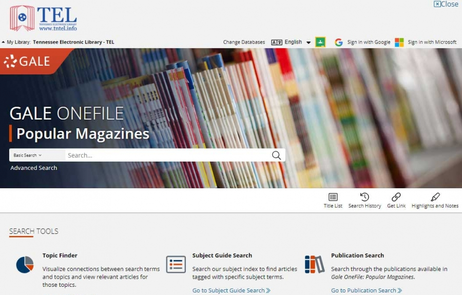 Gale OneFile: Popular Magazines homepage