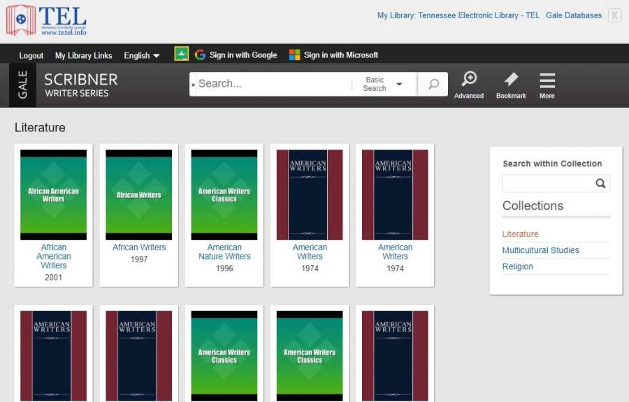 Scribner Writer Series homepage