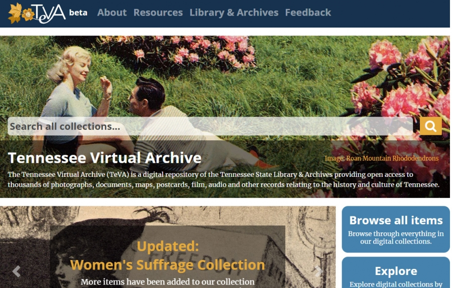 Tennessee Virtual Archive (TeVA) homepage