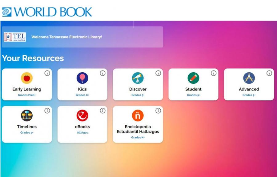 World Book Super Homepage menu