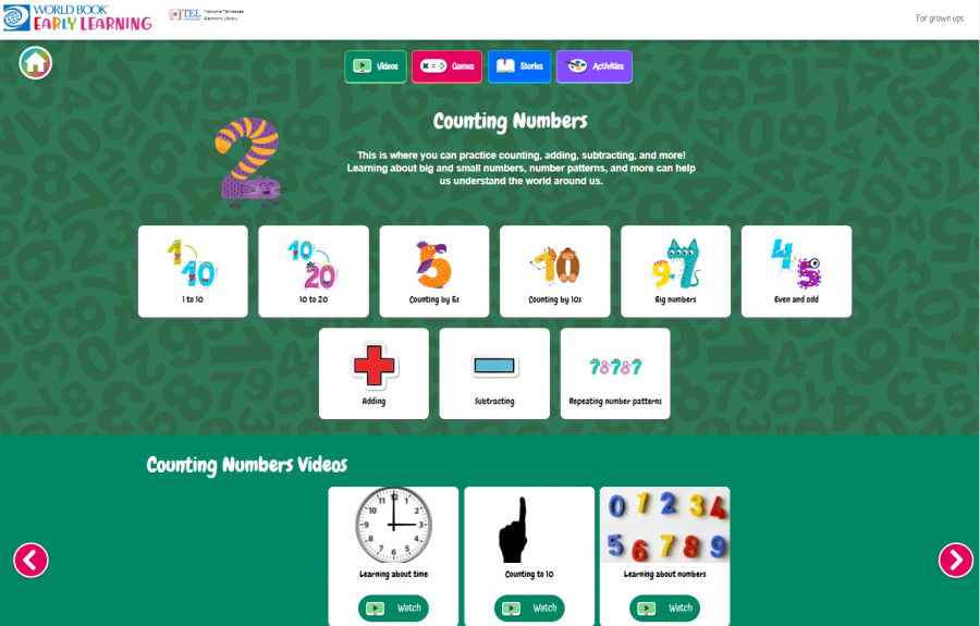 Early Learning Screenshot of content area Counting Numbers