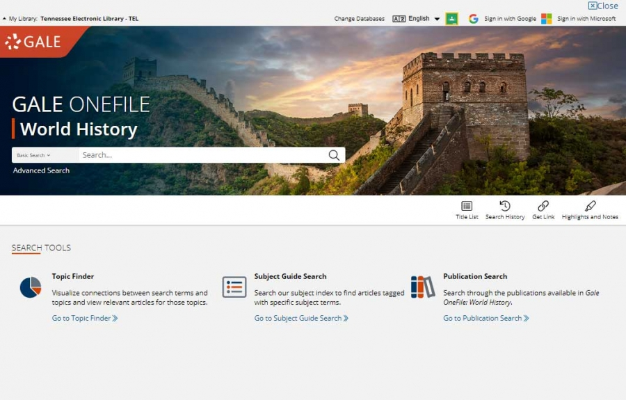 Gale OneFile: World History homepage