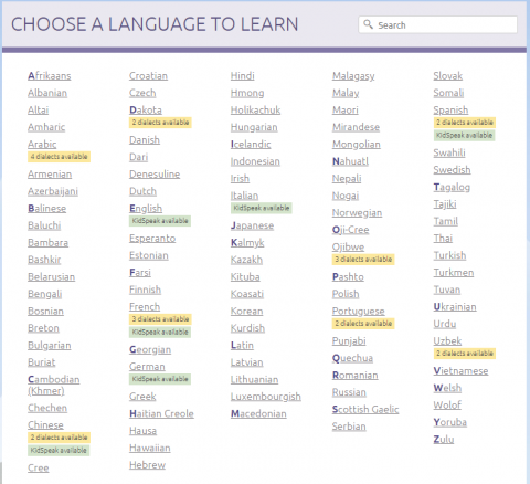 A screen shot of the list of languages from the Transparent Language Library