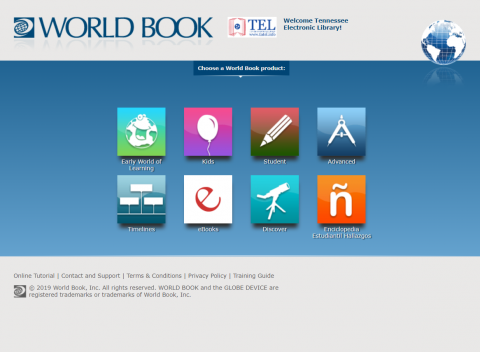 World Book Online portal screenshot