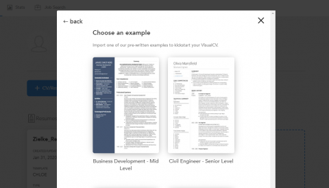 Screenshot of Resume Templates